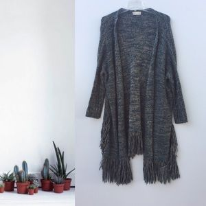 Altard State Knit Fringe Open Front Sweater Green